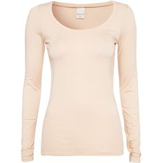 Vila Basic Officiel L/S O-Neck Top featuring polyvore women's fashion clothing tops shirts sweaters long sleeves peach womens-fashion round neck top vila peach top pink long sleeve top pink shirts