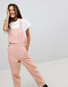 ASOS DESIGN cord dungaree in pale pink at ASOS. Dusty Pink, Pale Pink, Dungarees, Overalls, Asos, Uni, Corduroy, Fashion Online, Trousers