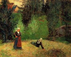 "dappledwithshadow: ""First Spring Flowers Paul Gauguin 1888 Private collection Painting - oil on canvas Height: 70 cm (27.56 in.), Width: 92 cm (36.22 in.) """