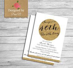New to DesignedbyDaniN on Etsy: Surprise Birthday INVITATION 40th birthday invite adult party 30th Birthday invitation 50th Birthday invitation gold glitter (15.00 USD)