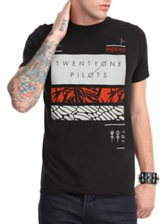<p>Black T-shirt with Twenty One Pilots logo and rectangles design.</p>  <ul> <li>100% cotton</li> <li>Wash cold; dry low</li> <li>Imported</li> <li>Listed in men's sizes</li> </ul>