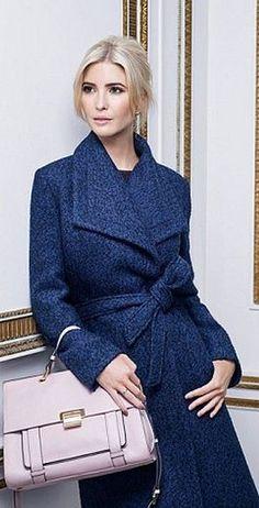 Who made Ivanka Trump's blue coat and tan handbag?
