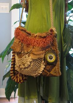This is an ~Original - One-Of-a-Kind handcrafted by Me~ What a Unique Earthy Brown Tapestry Bag, Gypsy Bohemian Bag, Hippie Bag, Victorian