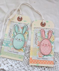 tags, Easter , bunny, washi tape, papertrey ink stamps and dies