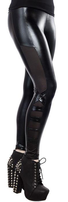 AMBER LEGGINGS Add a little metal-chic to your wardrobe! These shiny, pitch black leggings feature shear sides with crossed accent bands near the ankle. $24.00 #leggings #shinyleggings