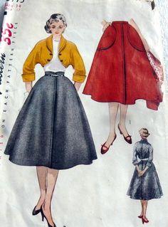 Lovely Vtg 1950s Jacket Skirt Sewing Pattern - Simplicity 3775