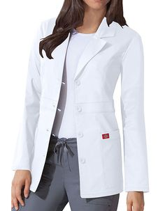 Dickies 82408 GenFlex Women's 28 Inch Two Pocket Youtility Junior Lab Coat Doctor White Coat, Doctor Coat, White Lab Coat, Scrubs Outfit, Lab Coats, Professional Attire, Business Outfits, Coats For Women, Work Wear