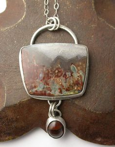 Prudent Man Agate Stone Cabochon and Sterling Silver Pendant Necklace with Fantasy Agate.