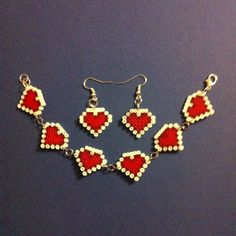 Heart bracelet and earrings set hama beads by Abalorios Rocío
