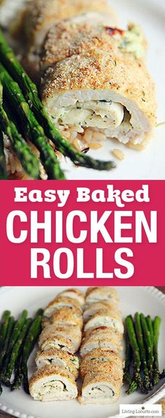 Wow your family with these Crispy Oven Baked Chicken Rolls! An easy chicken recipe filled with pesto and cream cheese baked until golden brown. Such a simple family dinner idea. Skip the rice for a low carb recipe and Keto diet meal. Served with roasted asparagus and rice this is a quick family meal. https://www.livinglocurto.com/baked-chicken-rolls/  #chicken #recipe #recipeoftheday #asparagus #bakedchicken #pesto #dinner #recipeideas #chickenrecipe #livinglocurto #keto #lowcarb