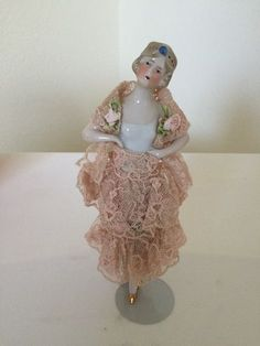 LOVELY VINTAGE CHINA HALF DOLL W LEGS DRESSED ANTIQUE LACE AND RIBBONWORK TRIM