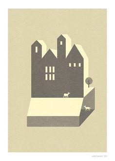 Small Houses Print  Different Sizes van JudyKaufmann op Etsy