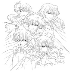 Endymion & the 4 Heavenly Kings Sailor Moon Manga, Sailor Moons, Sailor Jupiter, Sailor Moon Tumblr, Sailor Moon Fan Art, Sailor Saturn, Sailor Venus, Nephrite Sailor Moon, Colouring Pages