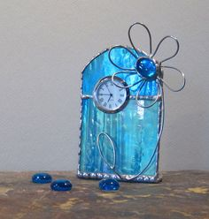 Unique Stained Glass Desk Clock, Turquoise Blue W/ Purple, Green And Gold…