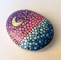 Dot Art Night Sky with Big and Little Dipper - Painted stone painted rock Fairy garden marker decoration stone art dotilism blue