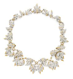 Schlumberger for Tiffany Diamond necklace. A diamond necklace, designed as a series of pave-set meandering vine leaves with baguette cut diamond detail mounted in gold and platinum. Circa 1960s