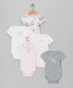 Take a look at this Pink & White Heart Branded Bodysuit Set by Calvin Klein Underwear on #zulily today!