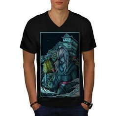 Samurai Girl Japan Anime Fight Men NEW L VNeck Tshirt  Wellcoda * Check out this great product.