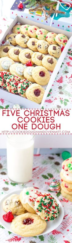 Giving a cookie box? Using this five christmas cookies one dough recipe. Fill th… Giving a cookie box? Using this five christmas cookies one dough recipe. Fill the box up with an assortment of cookies without making several recipes. Christmas Cookie Exchange, Christmas Sweets, Christmas Cooking, Christmas Candy, Christmas Holidays, Christmas Crafts, Cupcake Recipes, Cookie Recipes, Dessert Recipes