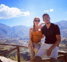How about that view? Chris Smalling and his partner Sam Cooke posed in front of Colca Canyon, which is located in southern Peru.