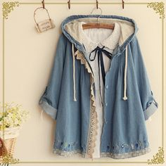 Fairyland Lace Trim Hooded Chambray Jacket | YESSTYLE