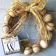 I love the use of used baseballs in this wreath for a more vintage look. This brings me great delight. Go out and play ball my friends! Your imagination is your only limitation.