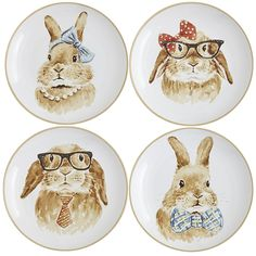 Who knows better than a bunny how to best enjoy a garden's bounty? The four bunnies on our ceramic salad plates certainly appear to be experts on lettuce, carrots, tomatoes and cabbage. Or perhaps they are simply in disguise to escape an irate farmer? Either way, they'd love a place on your table.