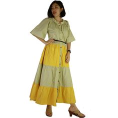 Green and Yellow Cotton Long Patchwork DressOversize by siam2u