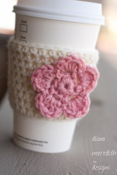 Crochet Coffee Cozy  Cream with Pink Flower - by dianameredithdesigns, $11