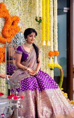 Bride in Banarasi Lehenga Banarasi Lehenga, Half Saree Lehenga, Lehnga Dress, Gown Dress, Lehenga Skirt, Kids Lehenga, Lehenga Blouse, Silk Dress, Bridal Silk Saree
