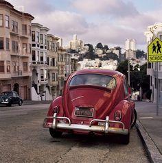 Christopher Hall | Streets of San Francisco Red '67 bug, just like I had.❤️