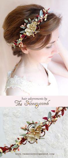 Marsala wedding headband for 2015 brides, by The Honeycomb