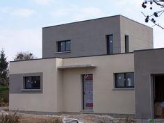 Enduits gris - Grainville Sur Ry (Seine Maritime - 76) - mars 2015 Stucco Paint, House Paint Exterior, Exterior House Colors, Future House, My House, Home Landscaping, House Painting, Bungalow, House Plans