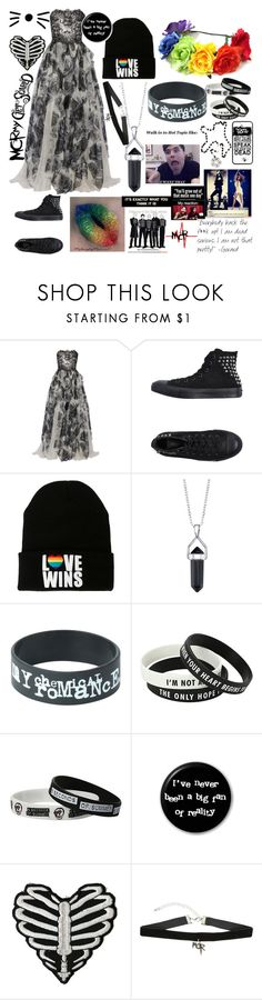 """Do or Die, You'll Never Break Me. Cause the World Will Never Take My Heart."" by bari-saxy-boy-had-me-at-cello ❤ liked on Polyvore featuring Notte by Marchesa, Converse and Bridge Jewelry"