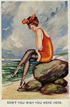 scandalous swimsuit! Seaside postcard, 1919