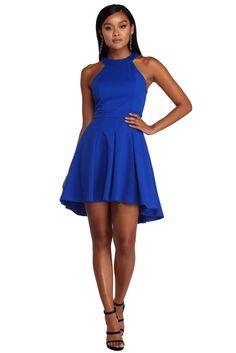 bef35cf381 Royal Blue Searching High-Low Skater Dress Royal Blue Skater Dress