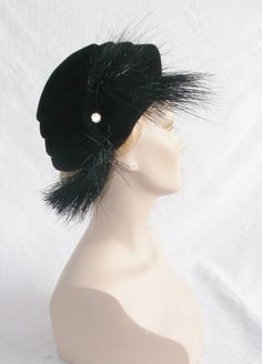 1950's Vintage Black Cocktail Hat with Horse by MyVintageHatShop