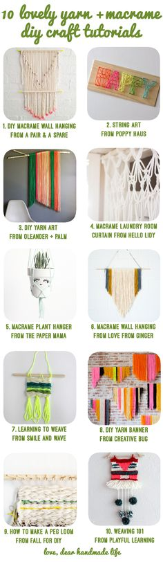 10 lovely yarn + macrame diy craft tutorials - dear handmade life