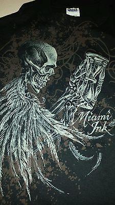 Miami Ink Tattoo Skull Skeleton Mens Small Black T-Shirt Hourglass BNWT Rare DS