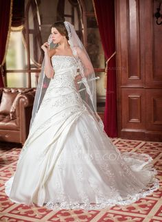 Ball-Gown Strapless Chapel Train Satin Wedding Dress With Ruffle Beading Appliques Lace Sequins (002000616) - JJsHouse