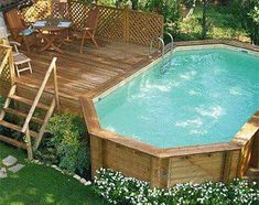 above ground pool, with external wooden paneling – … - Piscina