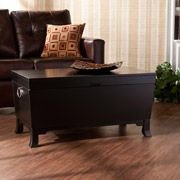 Add style to your living space as well as hidden storage with the Southern Enterprises Hayden Trunk Cocktail Table. With its black finish and sleek contemporary appeal, it blends easily with any room furnishings. Decorative handles add a modern touch. My Living Room, Living Room Furniture, Home Furniture, Living Spaces, Furniture Outlet, Online Furniture, Black Furniture, Accent Furniture, Wooden Furniture