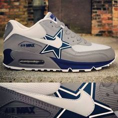 Nike Dallas Cowboys Air Max 90 Men& Women New Release, Cowboys Air max shoes with star! Dallas Cowboys Tattoo, Dallas Cowboys Shoes, Dallas Cowboys Women, Dallas Cowboys Football, Cowboys 4, Cowboys Season, Cowboys Players, Giants Baseball, Football Memes