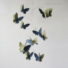 3D Butterflies Mobile, Kinetic mobile, Hand painted Mobile, Home decor by AtelierByElla on Etsy