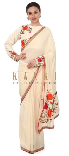 Buy this Cream saree enhanced in resham in floral motif only on Kalki