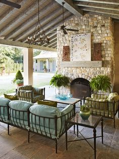 A cool Tulsa porch with an inviting pool right outside - Traditional Home®