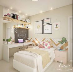 Girls Bedroom Ideas for Small Rooms, Childrens Bedroom Ideas for Sharing You wanna try this idea? Small Room Bedroom, Trendy Bedroom, Bedroom Colors, Home Bedroom, Modern Bedroom, Bedroom Decor, Bedroom Ideas, Small Rooms, Bedroom Ceiling