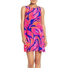 Women's Lilly Pulitzer 'Jackie' Print Silk Shift Dress ($198) ❤ liked on Polyvore featuring dresses, lilly pulitzer dresses, pattern dress, patterned shift dress, lilly pulitzer and print dress