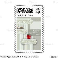 Teacher Appreciation Week Postage Stamps, at zazzle.com