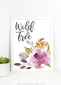 Boho Printable Wall Decor - Wild and Free - with stylish and adorable watercolor wild flower elements. Perfect or those who are in love with bohemian style by Amistyle Art Studio on Etsy